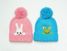 Winter Hats for Kids Knit Pom Pom Hats for Twins Toddler by 2mice, $36.00