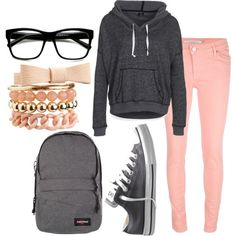 Grey Pink Lazy Day Outfit but I don't like the backpack or glasses