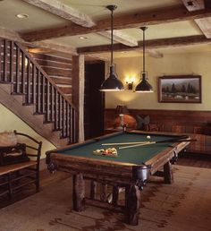 best game room pic ive seen that matches our dream home's game room Basement Lighting, Pool Table Lighting, Pool Tables, Game Room Basement, Basement Ideas, Architecture Building Design, Billiard Room, Western Homes, Cabin Interiors