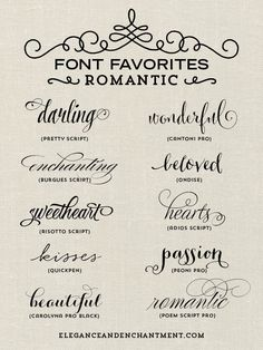 A collection of romantic inspired fonts from Elegance and Enchantment. Perfect for tattoo lettering. Typography Fonts, Hand Lettering, Tattoo Writing Fonts, Calligraphy Tattoo Fonts, Tattoo Font Script, Tattoo Fonts For Names, Tattoos Of Names, Roman Numeral Tattoo Font, Different Fonts For Tattoos