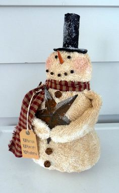 Primitive Snowman prim star Christmas decoration by ahlcoopedup