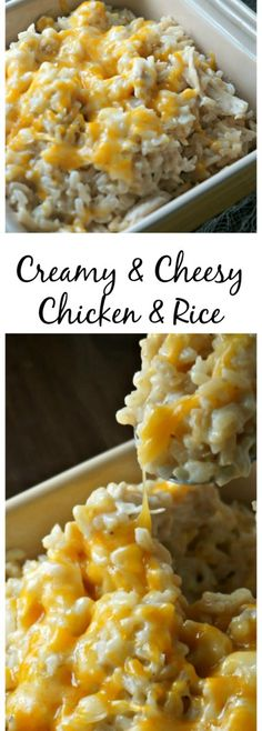 Creamy and Cheesy Chicken and Rice: brown rice, cooked chicken, and lots of chee. CLICK Image for full details Creamy and Cheesy Chicken and Rice: brown rice, cooked chicken, and lots of cheese all swimming in a decaden. Think Food, I Love Food, Good Food, Yummy Food, New Recipes, Healthy Recipes, Recipies, Recipes With Rice, Kraft Recipes