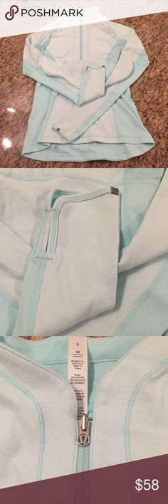 Lululemon Baby Blue Pullover Yoga Running Jacket I have a gorgeous baby blue Lululemon pullover jacket. The fabric is extremely soft and the fit is perfect for all activities l. The jacket is in pristine condition and has zero marks or damage. It's a size 8 with the rip away tag still attached! lululemon athletica Jackets & Coats Utility Jackets