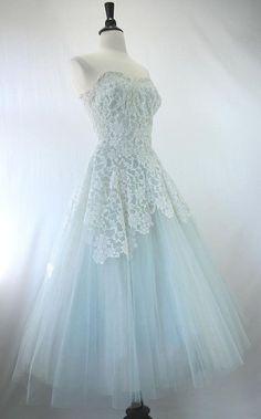 Vintage light blue tulle dress