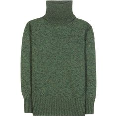 Vanessa Bruno Merino Knitted Wool Sweater ($415) ❤ liked on Polyvore featuring tops, sweaters, green, vanessa bruno, green sweater, green top, merino top and merino sweater