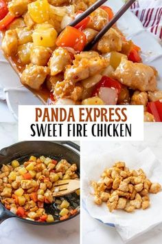 Panda Express Sweet Fire Chicken Copycat is a delicious medley of sweet, tangy. and spicy that tastes just like the original, if not better. It's so easy to make and cheaper than eating out! #chicken #asianfood #restaurantrecipes #stirfry #sweetandsourchicken Chicken Skillet Recipes, Healthy Chicken Recipes, Asian Recipes, Ethnic Recipes, Easy Recipes, Restaurant Recipes, Dinner Recipes, Drink Recipes, Dinner Ideas