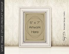 5x7 Portrait White Wooden Frame on Table & by TanyDiDesignStudio