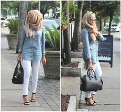 denim shirt white jeans outfit, Hijab looks by Sincerely Maryam http://www.justtrendygirls.com/hijab-looks-by-sincerely-maryam/