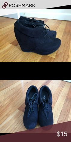 12788270ad71 Black Charlotte Russe Wedge Booties Size 8 Gently owned adorable black  booties! Worn only a