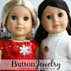 Anna here! Things are getting festive around here with holiday earrings and necklaces made of… yes, it's true… buttons!!  Buttons Galore has shared some button love with the Dol…