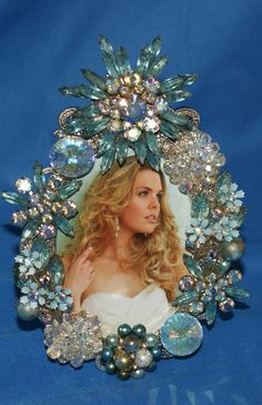 $80. Fabulous Vintage Aqua Rhinestone Jeweled Picture by KatsCollection, $79.99
