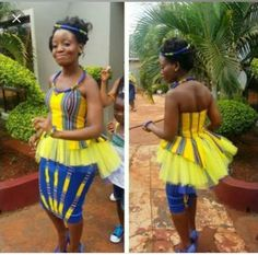 Venda Traditional Attire, Traditional Outfits, Traditional Wedding, African Dresses For Women, African Attire, African Fashion Dresses, African Print Fashion, Africa Fashion, Seshweshwe Dresses