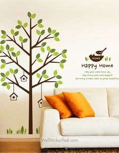 Happy Home Tree And Birds Wall Decals