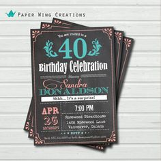 40th birthday invitation for woman. by ThePaperWingCreation, $15.00