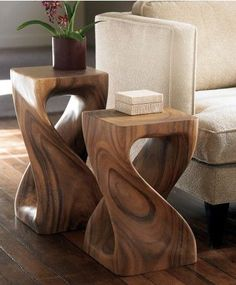 handcarved twisty stool collection wooden side tablewood - Side Tables For Living Room