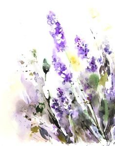 Lavender Flowers Art Print from Original Watercolor Painting 11x14'' Abstract Floral Lavender Green