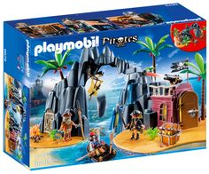 Playmobil 6679 Pirate Treasure Island with Lockable Jail Cell Play Mobile, Playmobil Pirates, Playmobil Sets, Toddler Christmas Gifts, Toddler Boy Gifts, Building Sets For Kids, Building Blocks Toys, Pirate Treasure, Treasure Chest