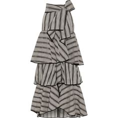 Johanna Ortiz Gabo ruffled striped organza maxi skirt ($2,965) ❤ liked on Polyvore featuring skirts, grey, tiered ruffle maxi skirt, long tiered skirt, ruffle skirt, maxi skirt and long skirts