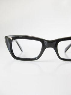 1950s Black Reading Glasses Vintage Horn Rim Eyeglasses Mens Guys Homme Obsidian Midnight Shiny Shine 50s Mid Century Modern Mad Men