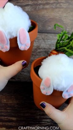 Bunny Butt Flower Pots- cute easter craft for kids or adults to make! These pom pom bunnies make the cutest easter centerpieces or decor! diy crafts for adults Bunny Butt Flower Pots Flower Pot Crafts, Bunny Crafts, Flower Pots, Unicorn Crafts, Flower Planters, Flower Ideas, Cute Crafts, Easter Projects, Easter Crafts For Kids