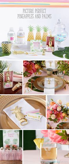 Pretty palms, gold pineapples and bright watercolors will beckon guests to the tropics. Whether you're planning a destination beach wedding or want to bring a Palm Springs vibe to your event, these unique wedding favors and decor are super chic picks!