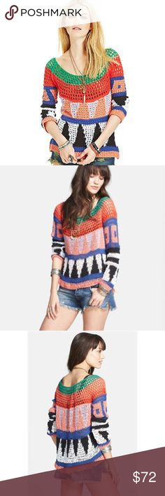 Free People Modern Art Open Knit Pullover Free People Modern Art Geometric Open Knit Pullover. Brightly hued yarns amp up the geometric appeal of this loosely knit pullover that's perfect for open air concerts after the sun has set. Coachella anyone!?! 82% cotton, 6% rayon, 6% polyester, and 6% linen. Hand wash cold, dry flat. Runs true to size: S = 4 - 6. Free People Sweaters Crew & Scoop Necks