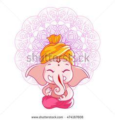 Little cartoon Ganesha. Vector cartoon illustration on a white background with mandala. Arte Ganesha, Arte Shiva, Ganesha Sketch, Ganesha Drawing, Ganesha Tattoo, Ganesha Painting, Shiva Art, Baby Ganesha, Hamsa Tattoo