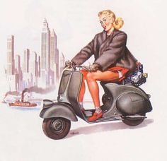 Motoblogn: 1950's Vespa Pin-Up Girls 2