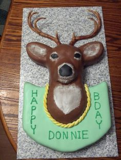 DH's Deer head b-day cake By ellantehalima on CakeCentral.com