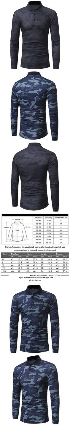 2017 New Men T Shirt Camouflage T-shirt Turn-down collar Fashion Tshirt Homme Long Sleeve Slim Fit T Shirt men Camisetas Hombre
