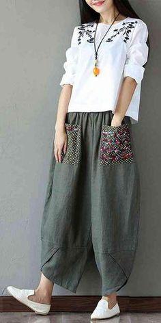 Women's Patchwork Wide Leg Linen Pants Trousers with Big Pockets Fashion Pants, Boho Fashion, Fashion Models, Girl Fashion, Fashion Outfits, New Kurti Designs, Kurta Designs Women, Blouse Designs, Salwar Designs