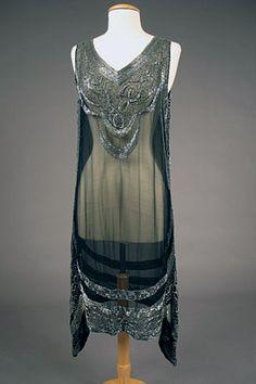 Silver on Black Beaded Flapper Dress, 1920s.