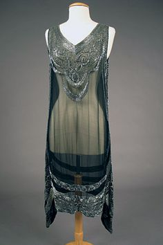 Silver on Black Beaded Flapper Dress, 1920s. Zoweeee!
