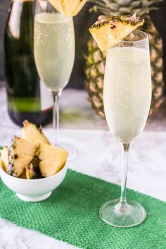 Pineapple Mimosas - Mix chilled champagne and pineapple juice with a splash of lemon-lime soda for added sweetness.