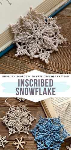 Inscribed Snowflake Crochet Inspiration - - Snowflakes are surely among my favorite types of crochet ornaments for winter. I am always amazed at how fragile, elegant and beautiful they are. Crochet Christmas Decorations, Christmas Bunting, Crochet Ornaments, Christmas Crochet Patterns, Holiday Crochet, Crochet Crafts, Crochet Projects, Free Crochet Snowflake Patterns, Xmas