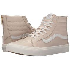 Vans SK8-Hi Slim Zip ((Leather) Whispering Pink/Blanc de Blanc) Skate... ($65) ❤ liked on Polyvore featuring shoes, sneakers, vans, leather high tops, pink sneakers, pink high tops, high top sneakers and leather sneakers