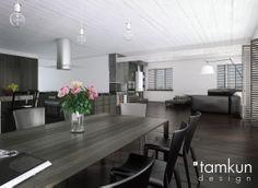 #interior #projekt #wnetrza Bez granic, Tamkun Design #table #openspace  https://www.domowy.pl/projekty-wnetrz/salon/bez-granic-jadalnia.html