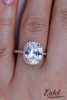 Eidel Precious engagement rings oval cut rose gold halo pave band