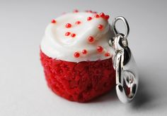 Red Velvet Cupcake Charm Miniature Food Jewelry For my bff Azia <3