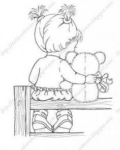 Cute Coloring Pagegirl With Teddy Bear Gillian F Roberts