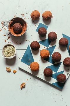 Fudgy brownie bliss balls made with 7 wholesome ingredients, including almond pulp! Just 20 minutes and 1 food processor required! Baker Recipes, Vegan Dessert Recipes, Vegan Sweets, Almond Recipes, Gluten Free Desserts, Fun Recipes, Keto Recipes, Pulp Recipe, Almond Pulp