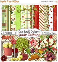 50% OFF TODAY Digital Scrapbook Kit, Apple Orchard , Apple Clip Art, Apple Trees, Red, Green Digital Scrapbooking, Card Making, Crafts, Inst