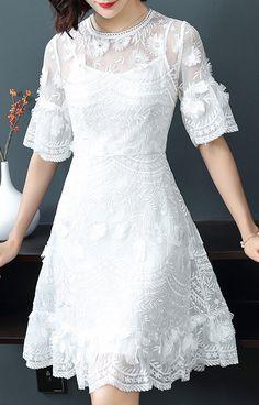 Elegant Pure Color Lace O-Neck Flare Sleeve Skater Dress