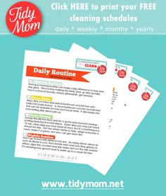 Countdown to clean - 4 free printable checklists to help with daily, weekly, monthly and annual routines at TidyMom.net