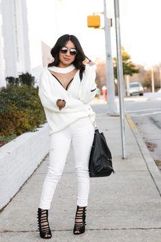 BLANCO Y EDGY VIA www.jessicafashionnotes.com total white, snow white, rocker chic, joryck