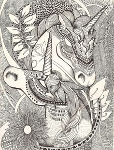 Inner princess unicorn zentangle