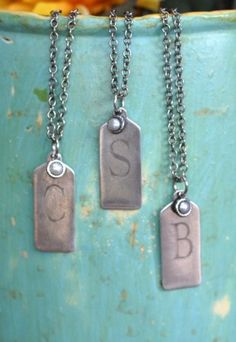 Rustic Monogrammed Necklaces. Perfect personal gift for bridesmaids. #wedding