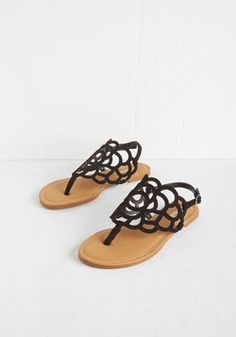 Peony More Where That Came From Sandal in Black. If you think these black sandals make your outfit, wait til you see them with all the other looks in your wardrobe! #black #modcloth