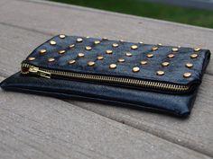 DIY: studded leather foldover clutch