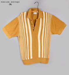 1950's Mens Vintage Gold Rockabilly Style Shirt